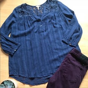 Joie navy blue boho blouse with floral detail